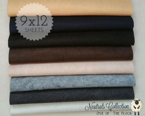 """NEUTRALS Felt Collection Merino Wool Blend Felt EIGHT 9/"""" X 12/"""" Sheets"""