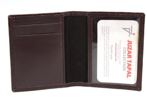 Brown Cow Leather Front Pocket Bifold Wallet Window ID Holder Student Card Case