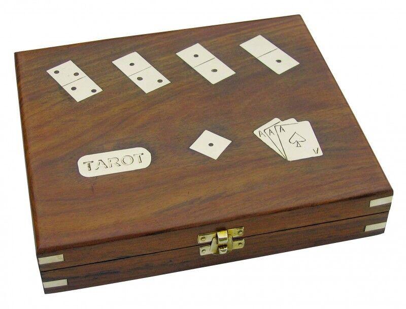Maritimes Spiele Set - Teak Teak - Messing Box - Tarot Romme Domino Würfel - sc-9042 b19968