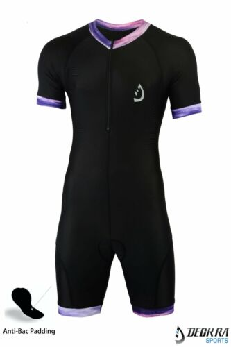 Cycling Skinsuit Short Sleeves Padded Bicycling Short+Shirt One Piece Suit Men/'s