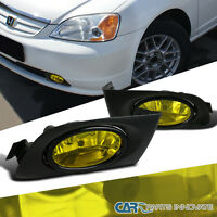 2001-2003 Fit Honda Civic 2/4dr Yellow Fog Lights Driving Bumper Lamp W/ Switch on sale
