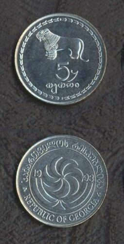 GEORGIA 5 Tetri Thetri COIN 1993 KM-78 UNC LION SUN WHOLESALE LOT of 100 pcs