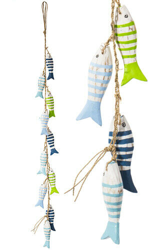 Fairtrade Set of Wooden Hand painted Fish on a String
