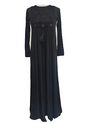 Ladies Black /& White Embroidered jersey stretchy flared Maxi Dress Dubai Style