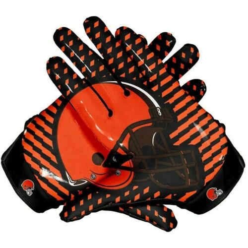 NFL American Cleveland Browns Team Football Gloves With Glue Grip Polyester fabr
