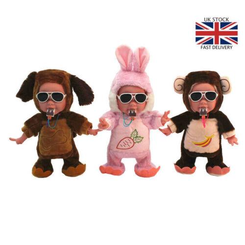 Baby Animal Plush Toys Monkey Dog Rabbit Cry Smile Dancing Stuffed Toys