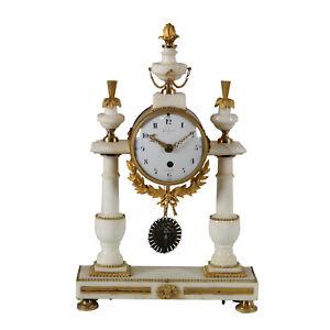 Horloge-de-Table-Lechopie-a-Paris-Marbre-blanc-Bronze-dore-France-039-700