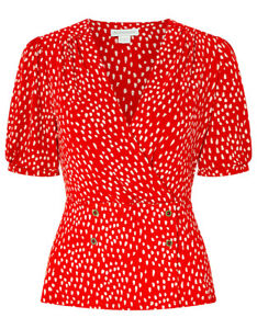 35-Ex-Monsoon-Saige-Red-Wrap-Spot-Dash-Brush-Stroke-short-sleeved-TOP-8-to-20