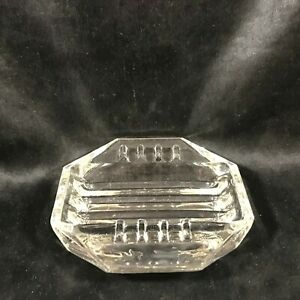 """Vintage Clear Glass Octagon 5"""" Ashtray"""