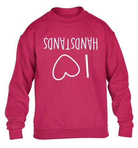 I Love Handstands kid/'s hoodie sweatshirt gymnastics acrobat flip gym fun 4339