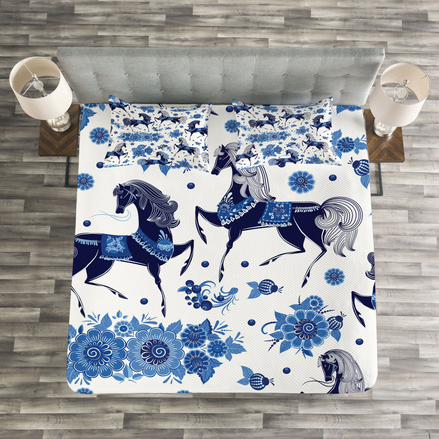Horse Quilted Bedspread & Pillow Shams Set, Middle Ages Drawings Print
