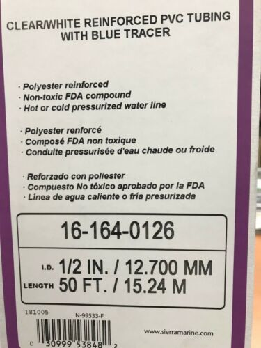 "HOSE CLEAR PVC WITH WHITE INNER VINYL TUBING BLUE TRACER 1//2/"" 88 1640126 50FT"