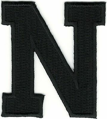 "1 7//8/"" Tall Black Monogram Block letter P Embroidery Patch"