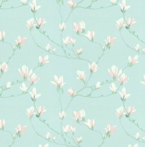 Laura Ashley Magnolia Grove Duck Egg Wallpaper FREE DELIVERY *