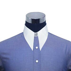 Pointe Col Chemise Pour Hommes Bleu Foncé Rayures Années 1930 Vintage Classique BéNéFique à La Moelle Essentielle