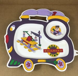 "Baby Oneida Childs Plastic Plate 'meal Railroad Time' 1994 10"" X 10"" Suitable For Men And Women Of All Ages In All Seasons"