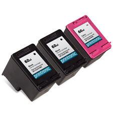 3 Pk HP 60XL Ink Cartridge - DeskJet D1660 D1663 D2530 D2545 D2560 D2563 D2