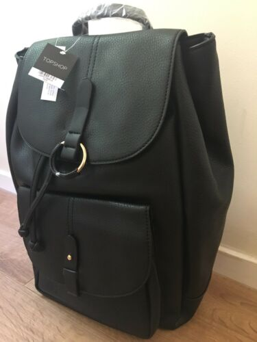 TOPSHOP BAILEY black pu leather Ring Detail Backpack Brand new WITH TAGS