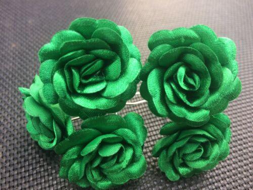 6 SPOSA Verde Brillante Rosa Fiore Per Capelli Pin Clip realizzata a mano