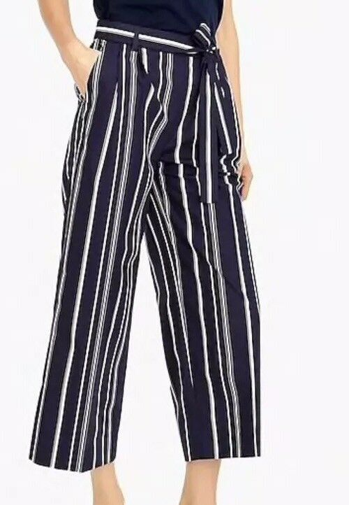 NEW JCREW  88 Wide-leg cropped pant in stripe Sz6 H7732 In Dark Ink