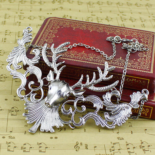 Women/'s Retro Statement Alloy Hollow Deer Head Pendant Insects Necklace Sanw GN