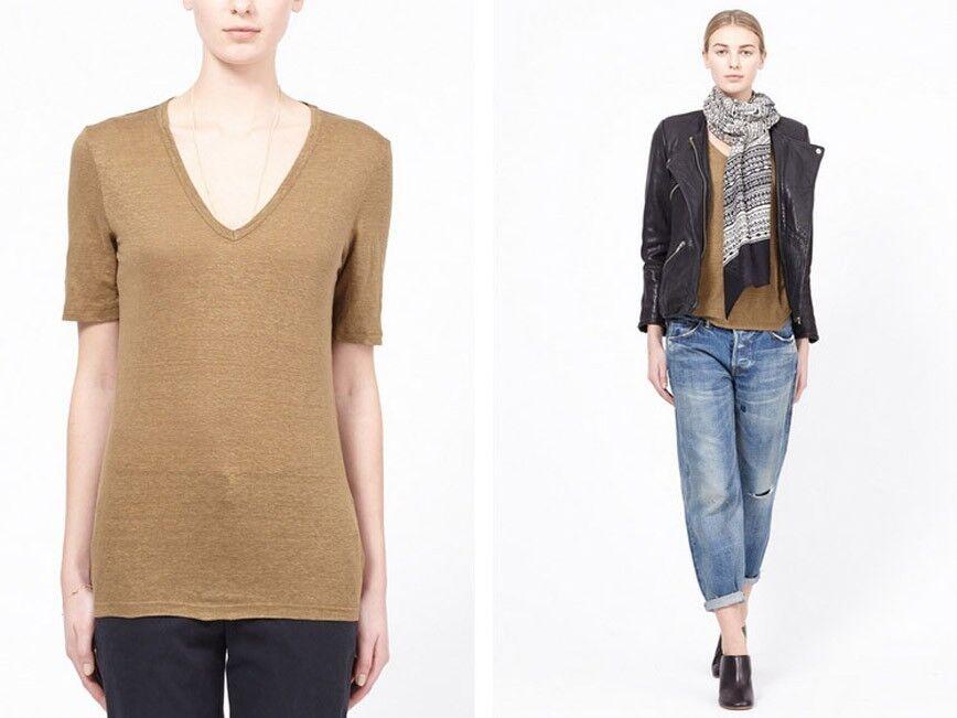 Isabel Marant Etoile Granger V-neck Linen Tee, Khaki Extra Small Größe 34 T Shirt