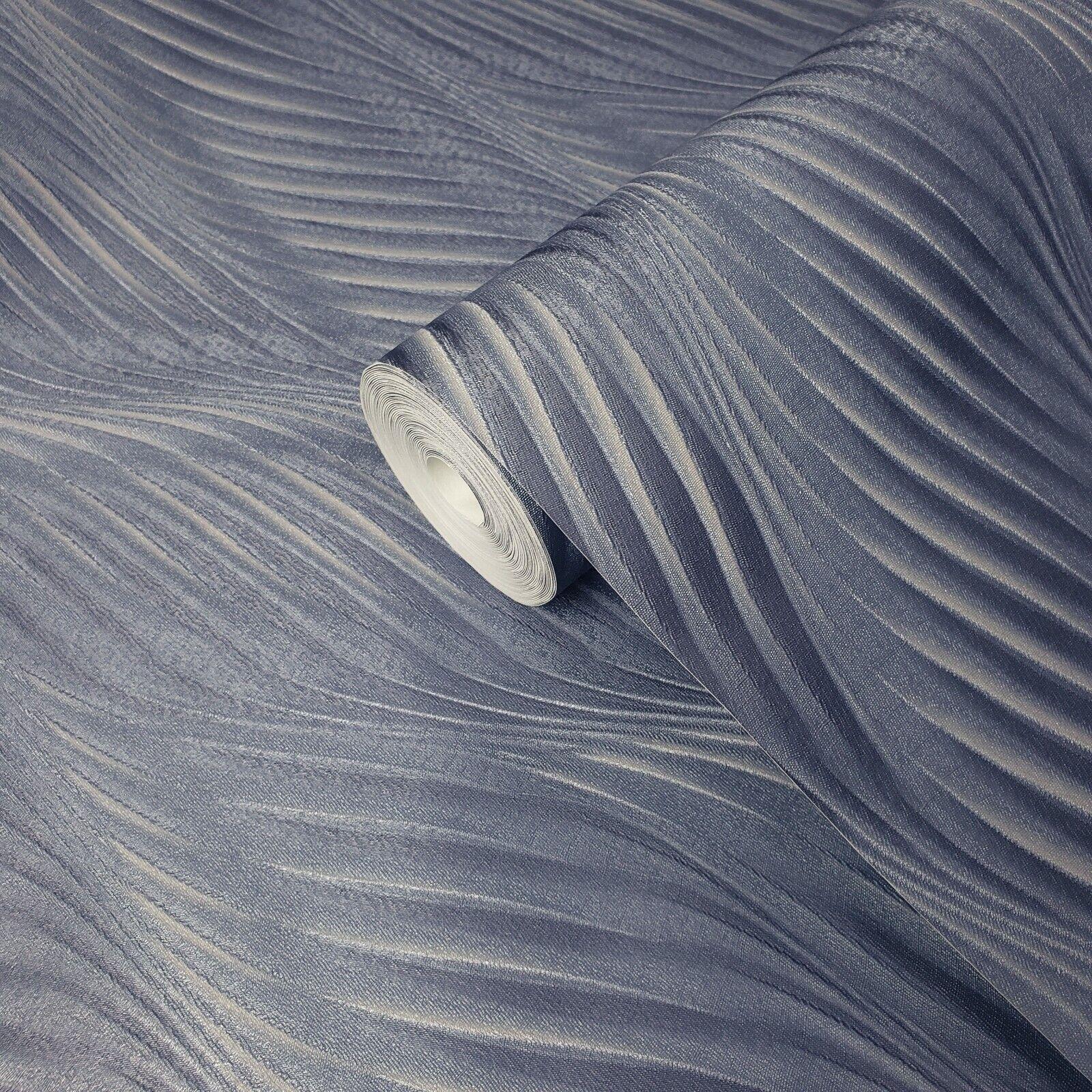 PURPLE PLUM SILVER DOTTY WAVE ORBIT LUXURY TEXTURED VINYL WALLPAPER FD14843
