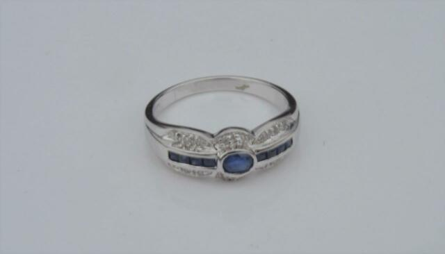 New 14k White Gold Sapphire & Diamond Ring Size 6.5
