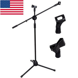 360-degree-Rotating-Microphone-Stand-Dual-Mic-Clip-Boom-Arm-Foldable-Tripod-US