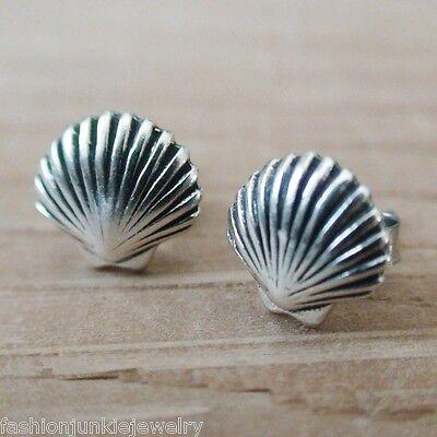 Shell Post Earrings - 925 Sterling Silver Stud Beach Mermaid Ocean Sand Sea