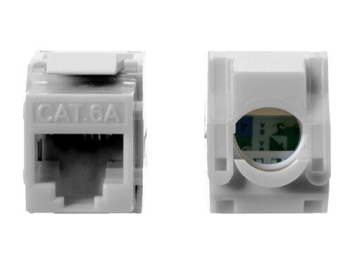 5x Keystone Jack Cat6A RJ45 Ethernet Network Module Toolfree 180 Degree White