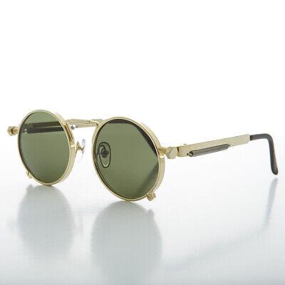 Gray Lens Mackaveli Round 90s Goth Vintage Sunglass Gold