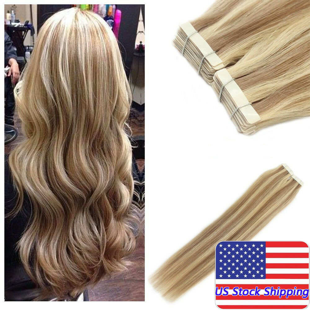 Seamless Tape In Skin Weft Remy Human Hair Extensions Highlight