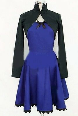 NEW DARKER THAN BLACK Kirsi Dark Blue Dress Black Coat Full Set Cosplay Costume