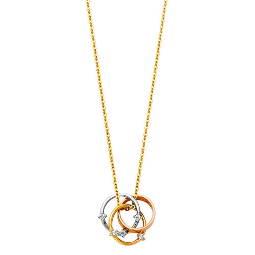 Rose Gold and White Gold Trio Circle Diamond Pendant Necklace 14K Yellow Gold