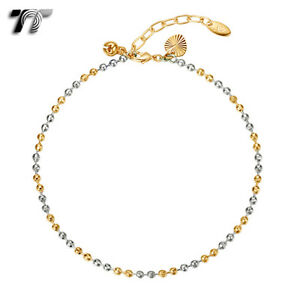 an10 Tt 18k Gold Filled Chain Pearl Anklet Jingle Bell Ajustable New