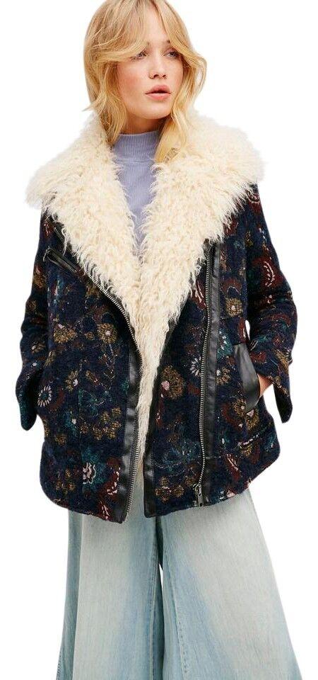 Free People Jacquard Wool Coat With Faux Fur Medium 6 8 Navy bluee Jacquard