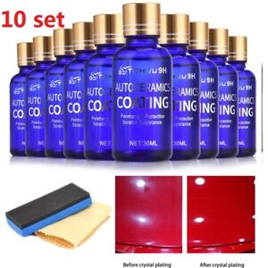 10x 30ml 9H Antiscratch Liquid Ceramic Car Coating Hydrophobic Glass Polish Care