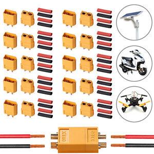 10Pair-XT60-XT-60-Male-Female-Bullet-Connectors-amp-Heat-Shrink-For-RC-Lipo-Battery