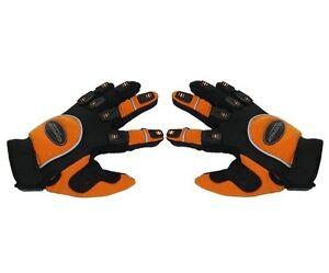 Paire-de-gants-moto-enduro-motocross-taille-XS-orange-noir