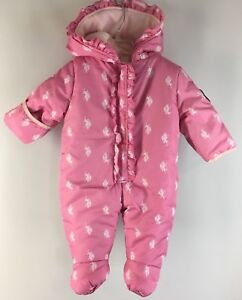 Pink Infant Hooded Zip Up All Over Logo 6-9 Mo Limpid In Sight Polo Assn Girl's Snowsuit U.s