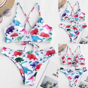 Womens Bikini Set Dinosaur Print Padded Swimwear Lady Bathing Swimsuit Beachwear