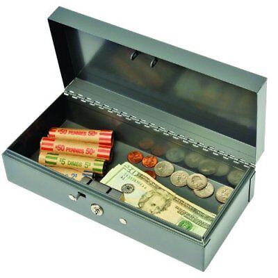 "Mmf Steelmaster Cash Box With Lock - Steel - Gray - 2.9"" Height X 10.3"" Width X"