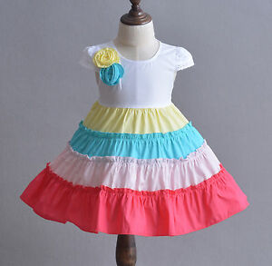 Cinda Baby Girls Cotton Party Dress in Hot Pink Yellow Ivory 6 9 12 18 24 Month