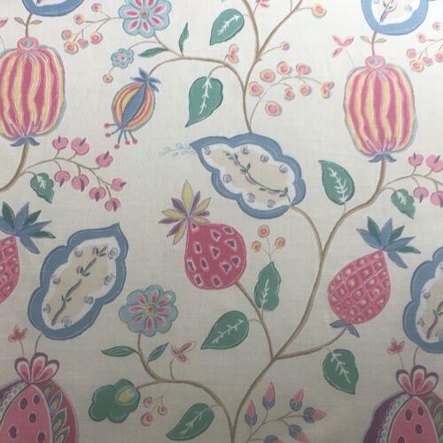 Sanderson Curtain Fabric~ /'Fantasy Garden/' Magenta//Marine Blue 3 METRES  Pieces