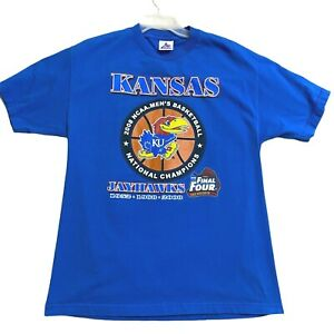 KU-Kansas-Mens-Jayhawks-2008-National-Champions-NCAA-Blue-Tshirt-Size-Large-L