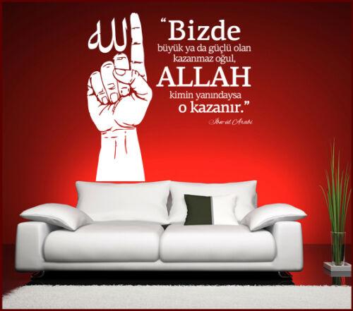 Wandtattoo Spruch /& Zitat Islam Allah kimin yanindaysa o kazanir Türkisch Deko