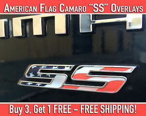 Details about Camaro SS Emblem Overlays American Flag Design Stickers