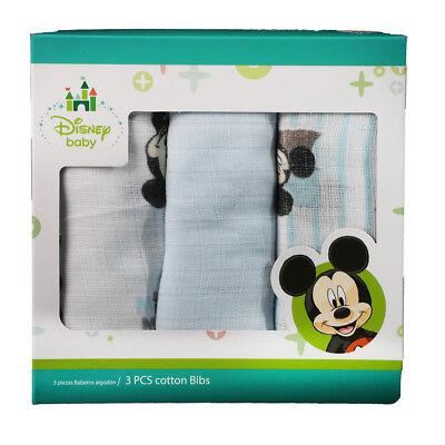 Charitable Set 3 Asciugamani Neonato Mickey Mouse Disney Quadrati In Garza Cotone Azzurro To Assure Years Of Trouble-Free Service Health & Grooming Baby