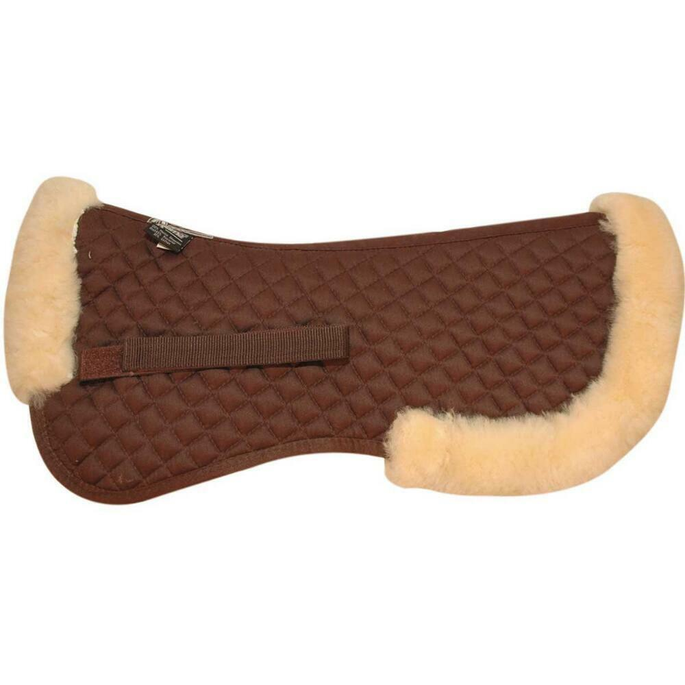 ROMA HALF SHEEPSKIN HALF PAD WITH FULL ROLLED EDGE FULL SIZE CHOCOLATE CHAMPAGNE